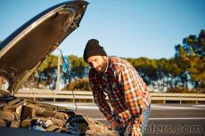 elecctric car, broken gas car, diesel car