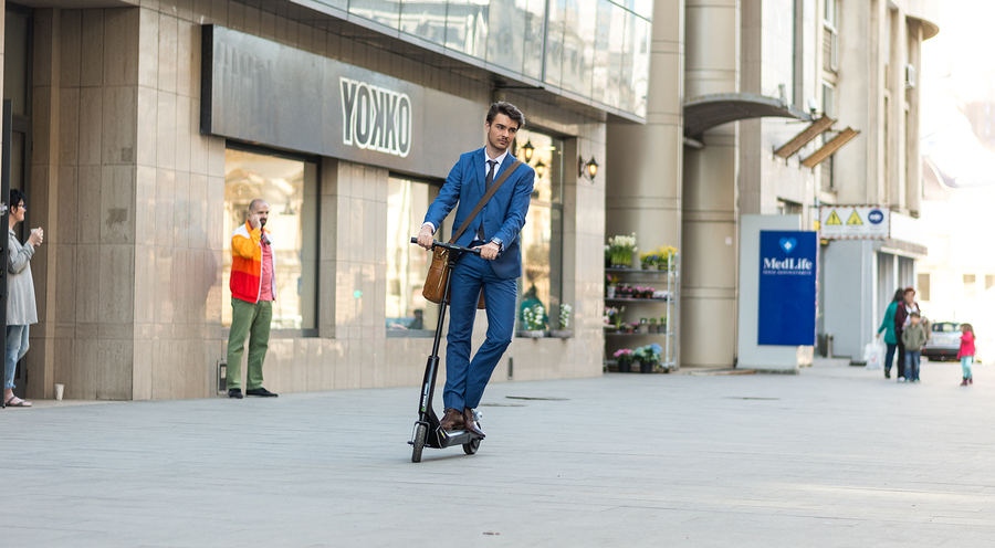 ride an electric scooter