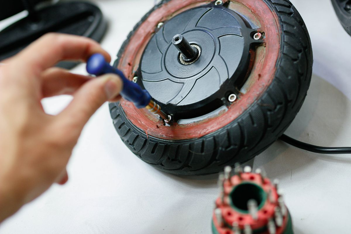 Repairing tires of electric scooter
