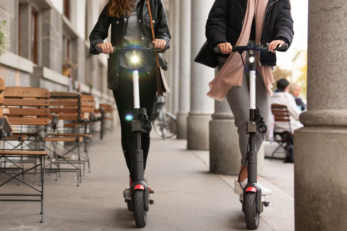 electric scooters with headlights on