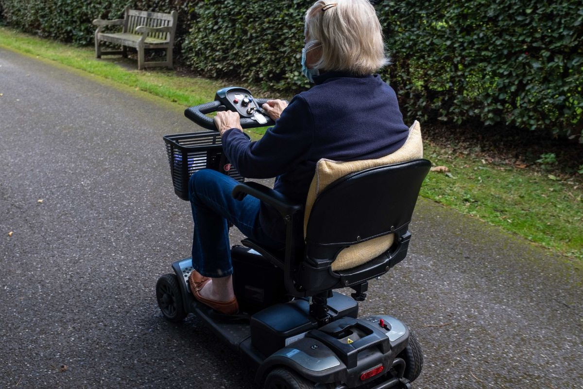 erderly on her mobility scooter