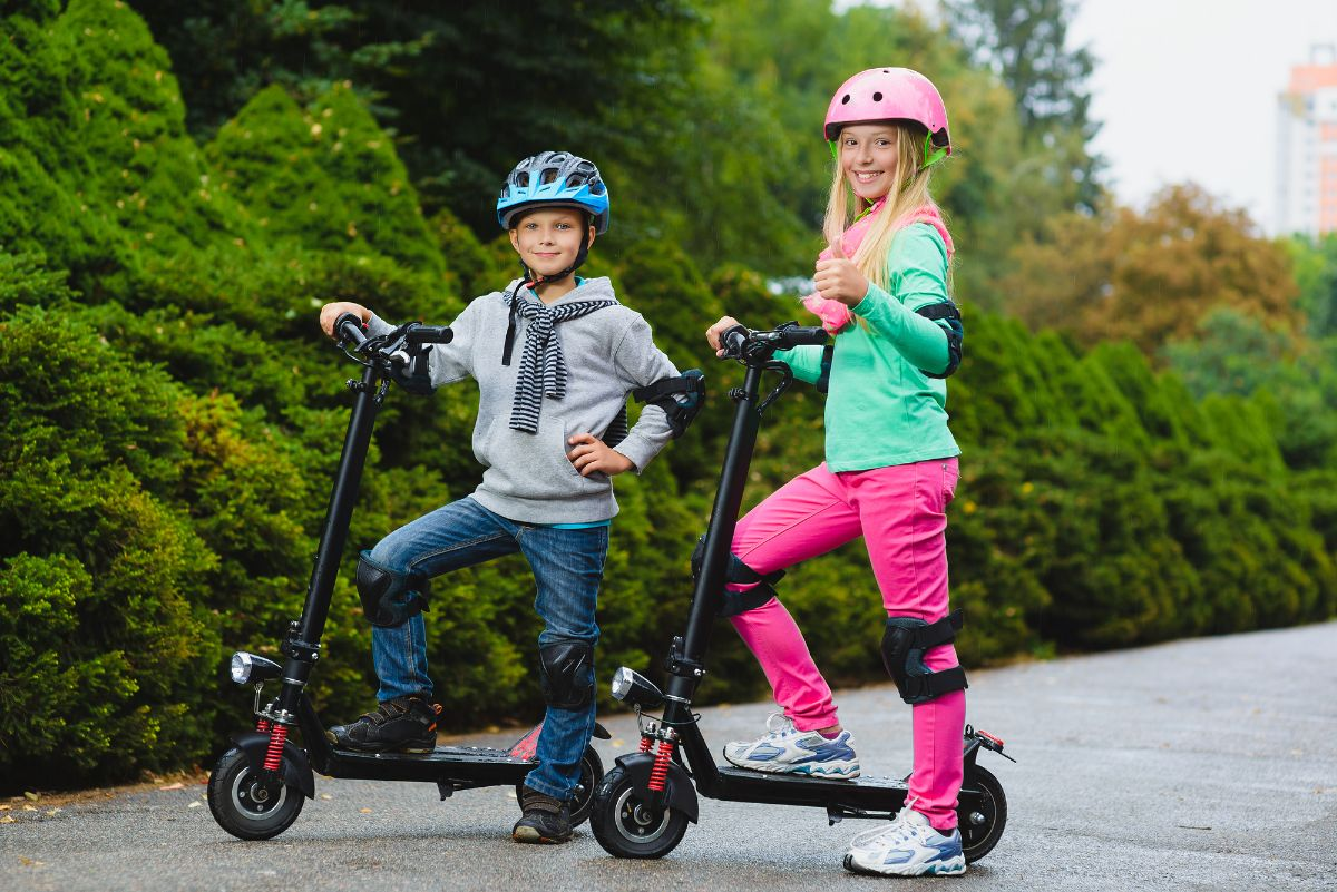 kids on modern electric scooter