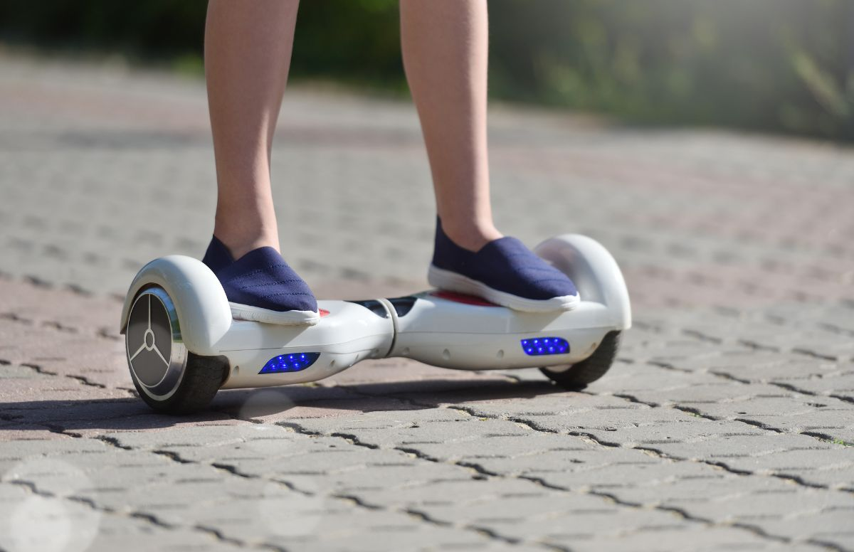 woman riding hoverboard